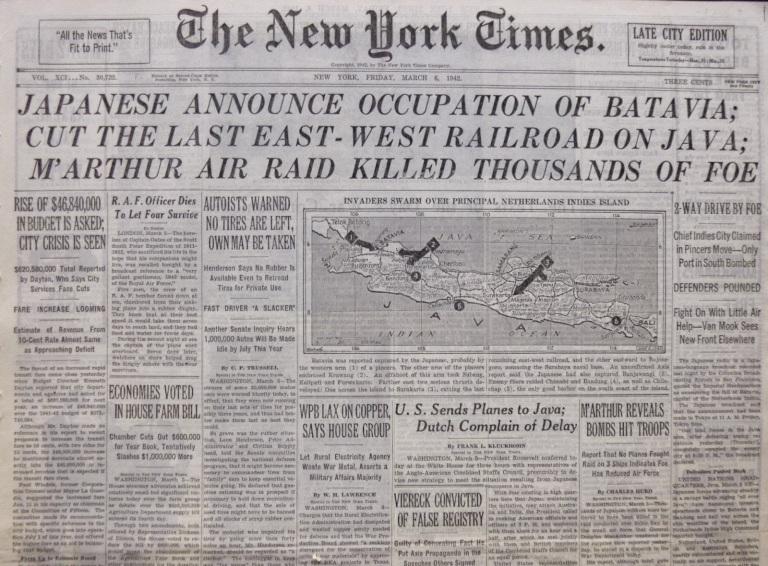 Berita utama tentang penaklukan Batavia di koran The New York Times.